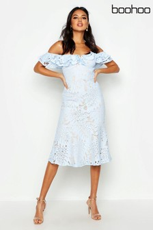 Boohoo Premium Lace Off Shoulder Midi Dress