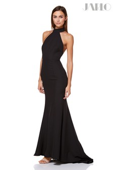 Jarlo Halter Neck Fishtail Open Back Gown