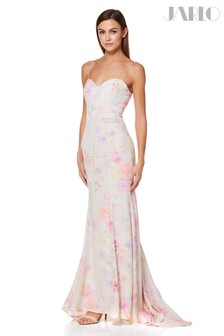 Jarlo Floral Print Sweetheart Neckline Gown