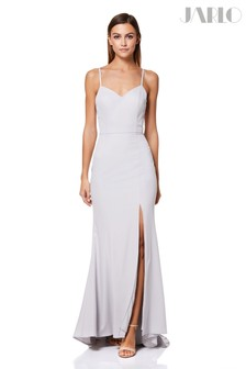 Jarlo Cross Back Strap High Split Fishtail Gown