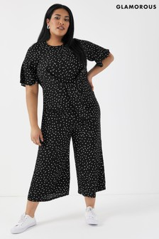 Glamorous Curve Polka Dot Midi Dress