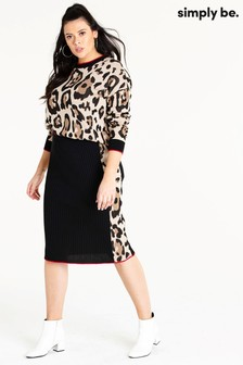 Simply Be Leopard Print Knitted Skirt
