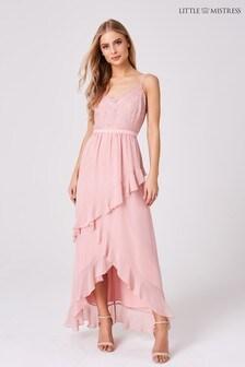 Little Mistress Lace Bodice Strappy Ruffle Maxi Dress