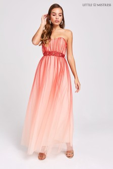 Little Mistress Ombre Tulle Bandeau Maxi Dress