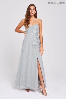 801d34c2e80 Little Mistress Embroidered Bandeau Maxi Dress