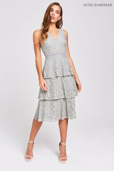Little Mistress Lace Tired Midi Dress