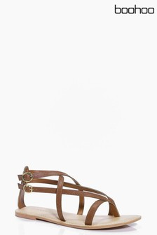 Boohoo Leather Thong Wrap Sandals