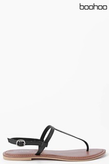 Boohoo Boutique Plain Toe Thong Leather Sandal