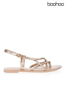 Boohoo Plaited Cross Strap Leather Sandal