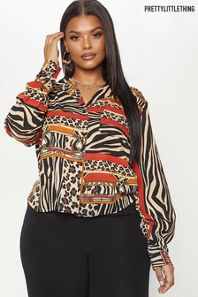 PrettyLittleThing Curve Zebra Mix Print Shirt