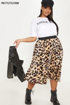 PrettyLittleThing Curve Leopard Print Pleated Skirt