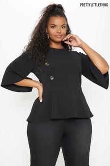 5e0e4b8bf3eba7 PrettyLittleThing Curve Button Detail Peplum Top