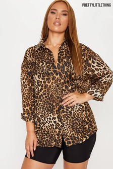 PrettyLittleThing Curve Leopard Print Oversized Shirt