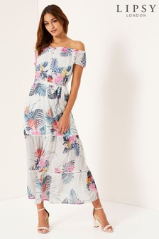 Lipsy Tiger Lilly Print Bardot Maxi Dress