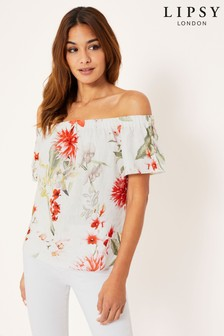 Lipsy Amy Print Bardot Top