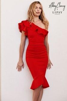 فستان ضيق بكتف واحد وكشكشة من Abbey Clancy x Lipsy