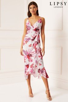 Lipsy Tigerlily Print Fit and Flare Midi Dress