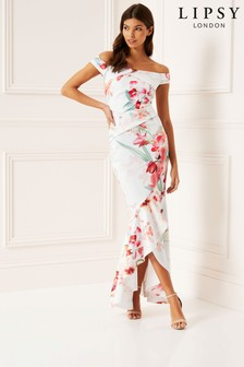 Lipsy Delilah Printed Bardot Maxi Dress