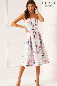 Lipsy Rosalie Print Structured Bandeau Prom Dress