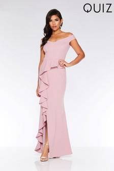 Quiz Bardot Peplum Frill Split Maxi Dress