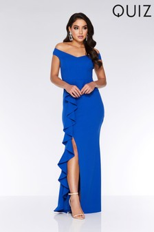 Quiz Bardot Peplum Frill Split Maxi Dress