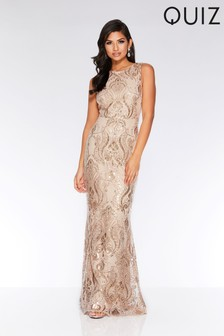 Quiz Sequin Baroque Pattern Sleeveless Maxi Dress