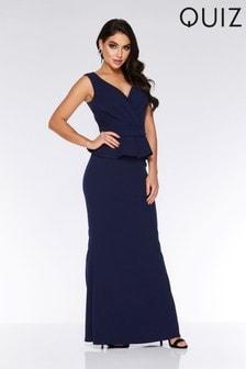 Quiz Bardot Wrap Style Peplum Maxi Dress