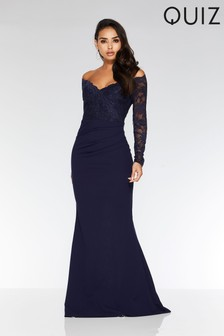 Quiz Bardot Lace Fishtail Maxi Dress