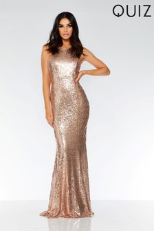 Quiz Sequin Cross-Over Back Bow Ruffle Maxi Dress