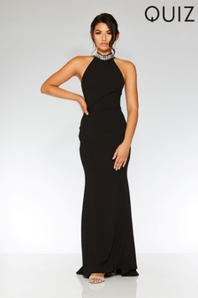 Quiz Embellished Back Fishtail Maxi Dress