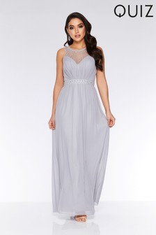 e6584f06eb Quiz Chiffon Embellished High Neck Maxi Dress