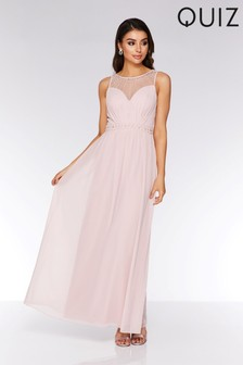 Quiz Chiffon Embellished High Neck Maxi Dress