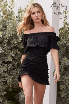 Abbey Clancy x Lipsy Bardot Shirred Mini Dress
