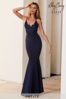 Abbey Clancy x Lipsy Petite Appliqué Artwork Fishtail Hem Maxi Dress