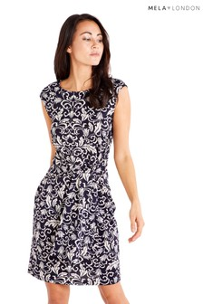 bb228ee9a95 Mela London Front Tie Monochrome Dress