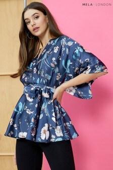 Mela London Printed Kimono Sleeve Wrap Top