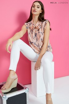 Mela London Floral Pussy Bow Blouse