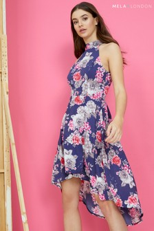 Mela London Floral Cluster High Low Dress