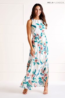 Mela London Tropical High Neck Maxi Dress