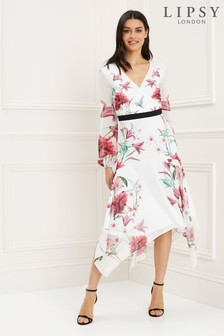 Lipsy Serena Print Fit and Flare Wrap Midi