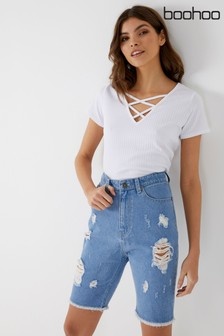 Boohoo Ripped Distressed Denim Shorts