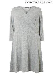 Kopertowa sukienka Dorothy Perkins Curve, z czesanego materiału