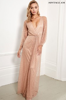 Sistaglam Embellished Long Sleeve Wrap Maxi Dress
