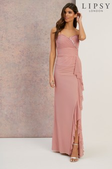 Lipsy Bandeau Pearl Trim Maxi Dress