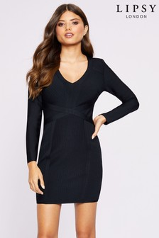 Lipsy Long Sleeve Bandage Dress