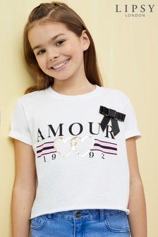 Lipsy Girl Amour Bow Tee
