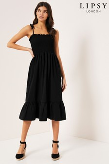 Lipsy Strappy Shirred Tier Hem Midi Dress