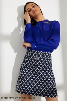 Dorothy Perkins Dec Geo Jaq Zip Front Mini Skirt