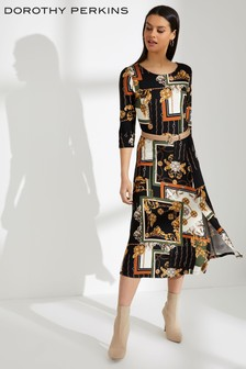 Sukienka midi z nadrukiem apaszki Dorothy Perkins