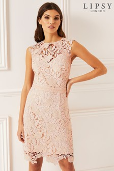Lipsy Two Tone Lace A line Midi Dress